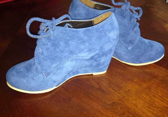 Blue suede shoes purchased on eBay.