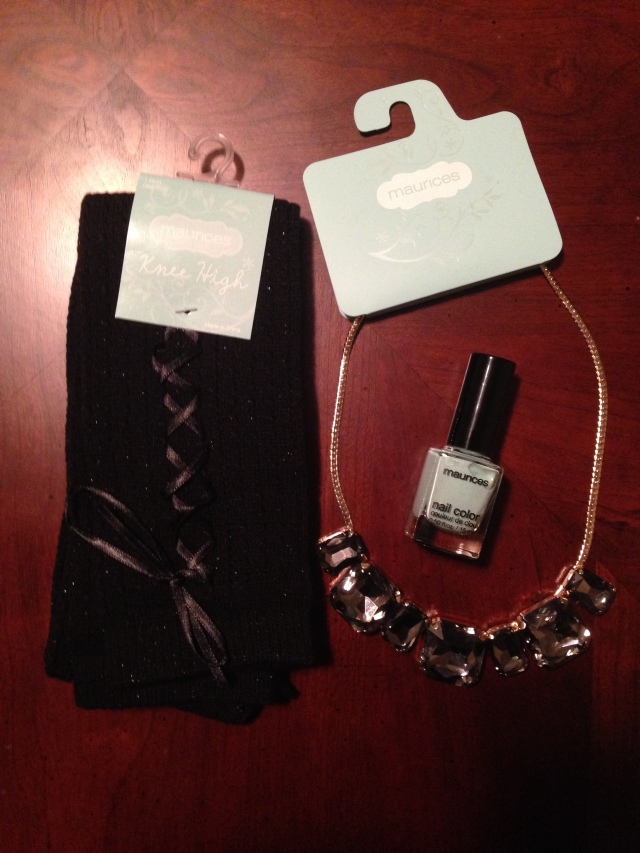 Necklace + knee highs & nail polish
