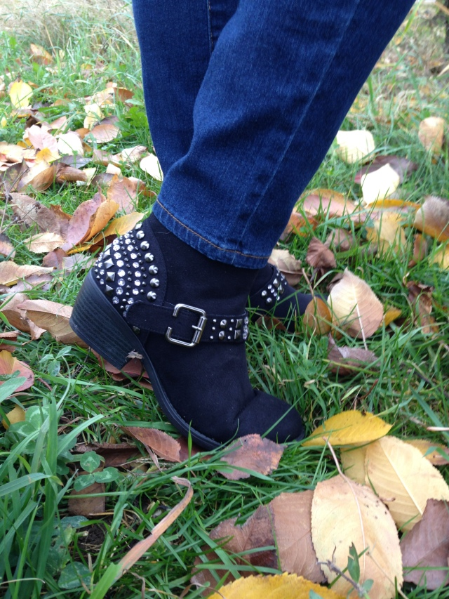 Studded black booties from Maurices