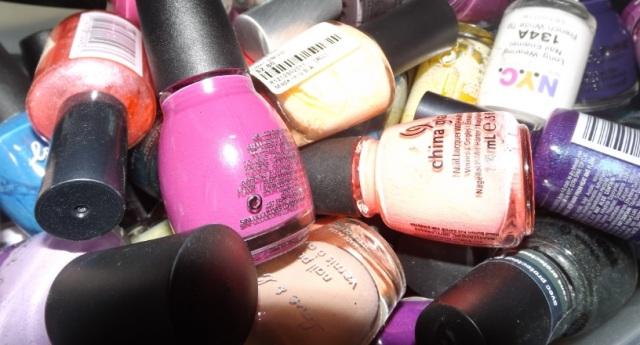 Nail polish pile