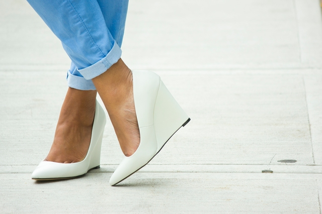 White Pointy Toe Wedges