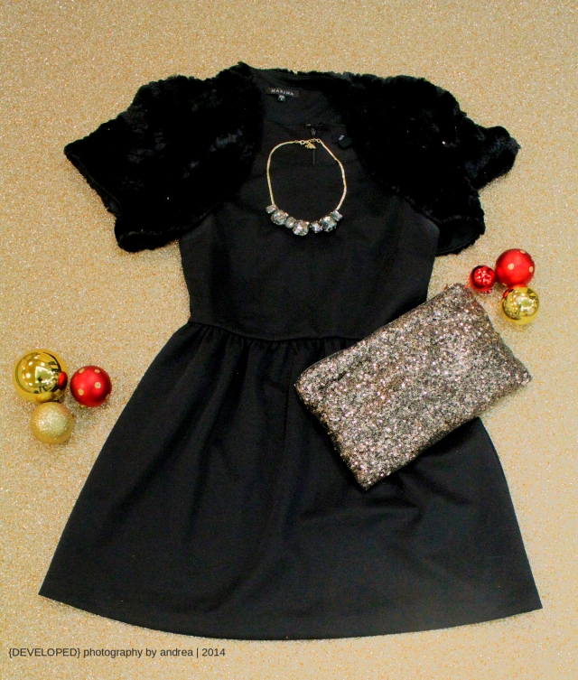 LBD with sparkly accessories from Macy's and eBay